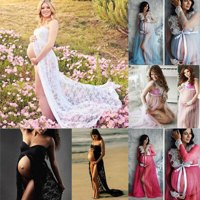 USA Hot Pregnant Women Lace Maxi Dress Maternity Gown Photography Props Dress