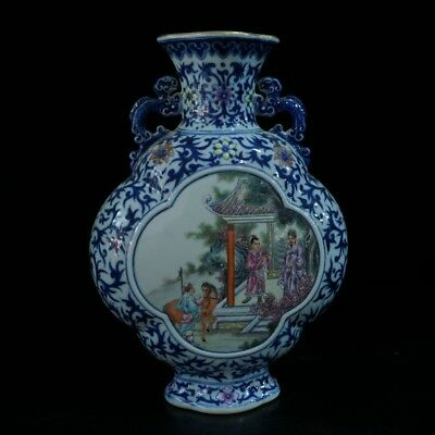 Chinese Exquisite Handmade Ancient character pattern porcelain vase