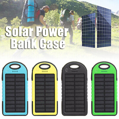 Waterproof 5000mAh Solar Power Bank Dual 2 USB Portable Charger Case For Phone
