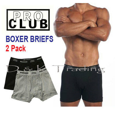 2 Pack PRO CLUB Boxer Briefs Cotton Proclub Men's Underwear Big and Tall S~7XL