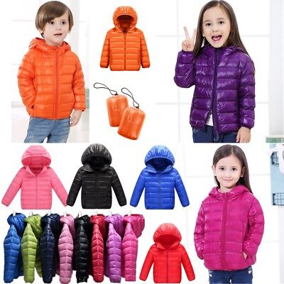 AU Kids Girls Boys Down Hooded Jacket Winter Warm Ultralight Quilted Puffer Coat