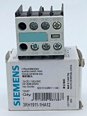 Siemens 3RH1911-1HA12 Aux. Switch Block Snap Front with Screw Terminal 1NO / 2NC