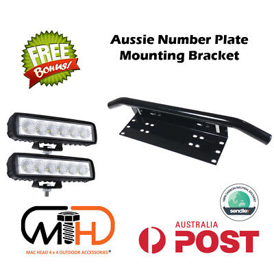 Number Plate Frame Bull Bar Mount Bracket Car Driving LED Light Bar Holder BLACK