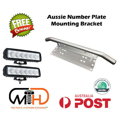 Number Plate Holder Bullbar Frame Mounting Bracket Spot Driving Led Light Bar