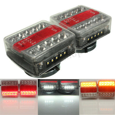 2X Magnetic LED Trailer Truck Towing Lightboard Tail Light  Lamp Rear Indicator
