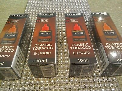 4 x Vivid Classic Tobacco Liquid 18mg/ml High Nicotine 10ml New and Sealed