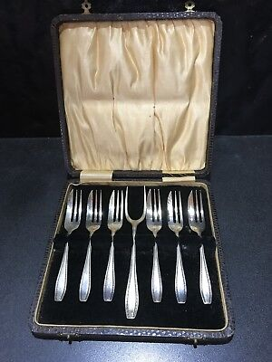 Stunning Vintage Boxed Set Ep Cake Forks With Server