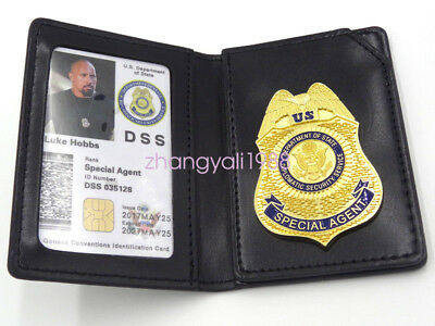 Luke Hobbes Fast Furious 7 Dss Driving Licence Badge With ID Wallet Holder Chain