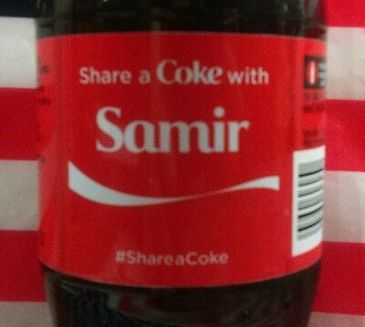 Share A Coke With Samir Limited Edition Coca Cola Bottle 2015 USA