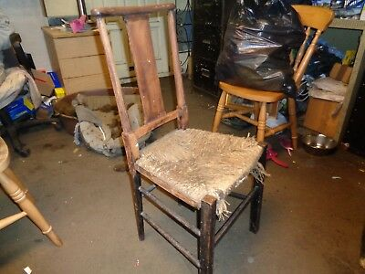 vintage kitchen chair wooden wicker/straw great old looking item