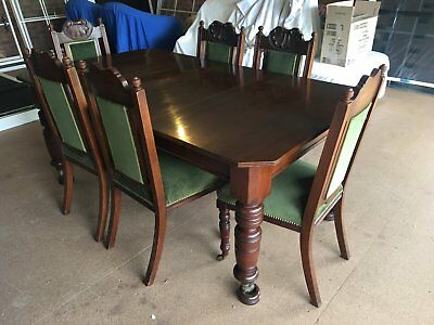 Antique dining suite/ Velvet chairs/ Vintage furniture/ collectable/ Mahogany
