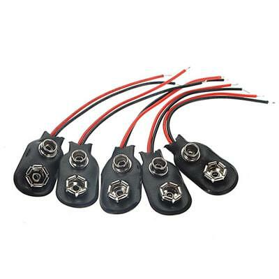 5 Pcs PP3 MN1604 9V 9volt Battery Holder Clip Snap On Connector Cable Lea Prof