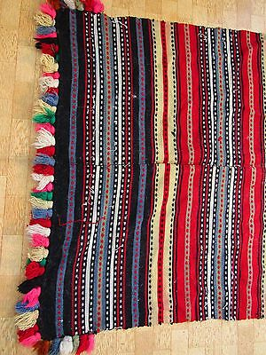 Bulgarian Antique Rug Hand Woven, Embroidered Folk Carpet Tapestry Kilim Tappis