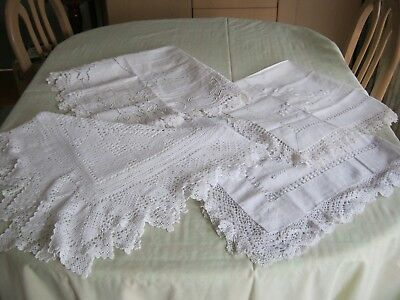 """FOUR Antique Vintage Embroidered Tea Cloths with Wide Crocheted Edges.36"""" Square"""