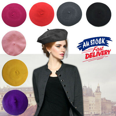 Women's Ladies Newsboy Hat Cap Wool Acrylic Winter French Beret Warm Unisex