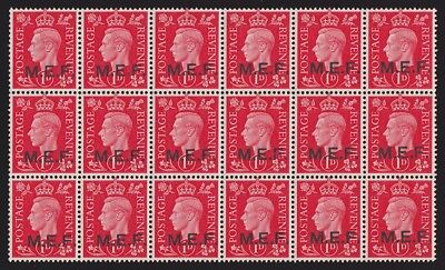 British Middle East Forces MEF : 1942 KGVI 1d block with VARIETY MNH **