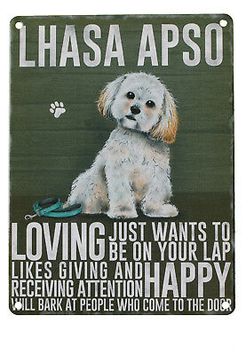 Lhasa Apso Wall Metal Sign Image / Description of Dog Made in UK