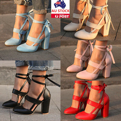 Women Summer Block Heel Leather Ankle Strap Sandals Pointed Toe Lace Up Tie Shoe