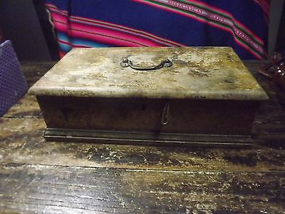 antique wooden box for restoration no lock brass handle 13x7x4 in trim one end