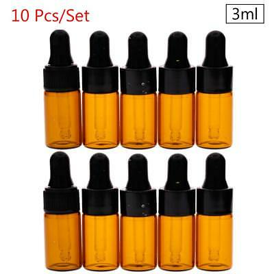 10pcs 3ml Amber Glass Dropper Bottles Vials for Essential Oil Sampling 50MM #