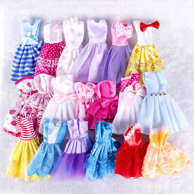 10Pcs Trendy Barbie Cloth Doll Handmade Dress Wedding Party Mini Gown Clothes #