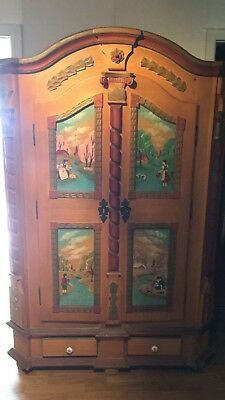 Antique Alps Folk Art Painted Armoire Kitchen Hall Religious Icon Cupboard