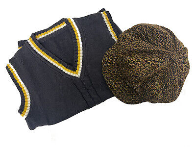 1940's-History-School Curriculum TANK TOP & TWEED CAP Kids Dress Up-Wartime Set