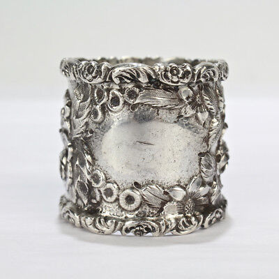 Antique Baltimore Sterling Silver Repousse Napkin Ring by Schofield - Rose SL