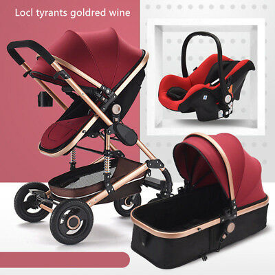 New style Baby Stroller 3 in 1 High Landscape Pram foldable pushchair & Car Seat