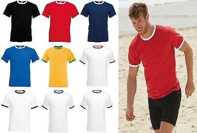 Mens T Shirt Crew Neck Contrast Tee Shirt Ringer Tee Fruit Of The Loom SS168