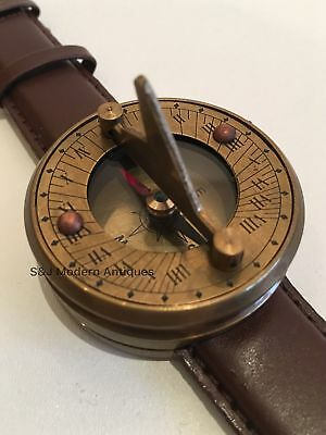 Navitron Steampunk Wrist Watch, Brass Sundial Compass and Genuine Leather Strap