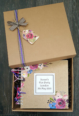 "Hen Night Scrapbook, 8""x8"" Boxed Memory Book, Personalised Hen Photo Album"