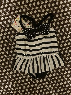 Baby Girls one-piece swimming suit Size 000 Black and White Stripes and pokadots