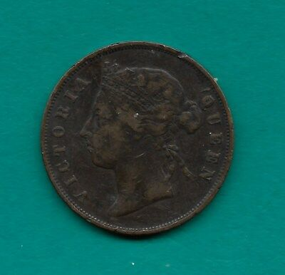 1890-H Mauritius British Crown Colony 5 Cents Queen Victoria 28.35mm Bronze Coin