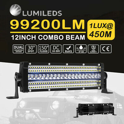 12inch LED Work Light Bar Penta Row Spot Flood Cmobo Driving 4WD Offroad 4X4 10'