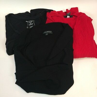 Lane Bryant Womens 26 28 Top LOT of 3 Red Black Sweater Shirt Reseller Wardrobe