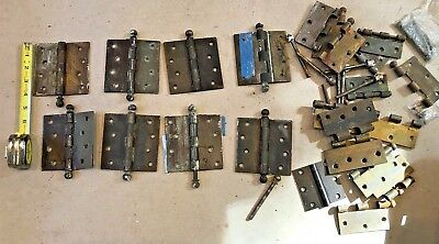 "LARGE LOT (8+)  Antique 4"" Square Brass Mortise Door Hinge Ball Tip"