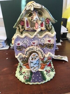 Cotton Tail Cottage t-lite holder from Blue Sky Clayworks by Heather Goldminc