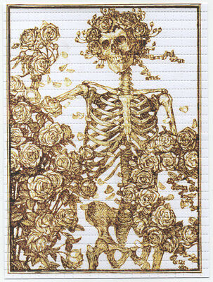 Gold Bertha Skeleton And Roses Grateful Dead  Quality Blotter Art Stanley Mouse