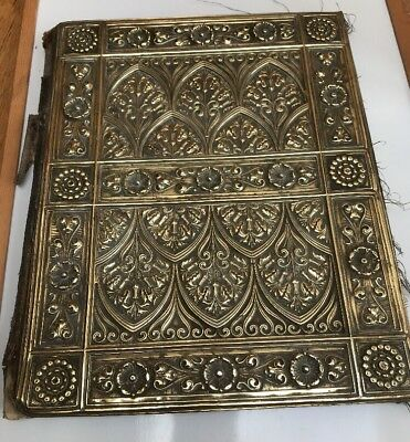 Antique Writing Pad - Scroll And Letter Writing File - Brass And Real Leather