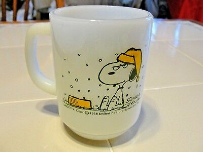 Vtg 1958 SNOOPY Fire King Coffee Cup I Hate It When It Snows On My French Toast