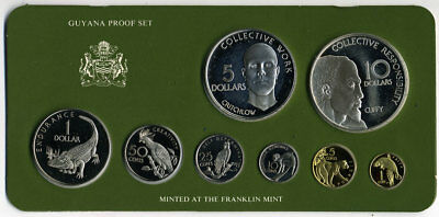 Guyana 1976 8 Piece With 2 Sterling Coins Proof Set