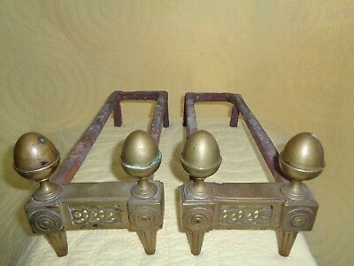 Antique Fireplace Empire Acorn Finial Bronze Andiron Wrought Iron Dogs 1750-1800