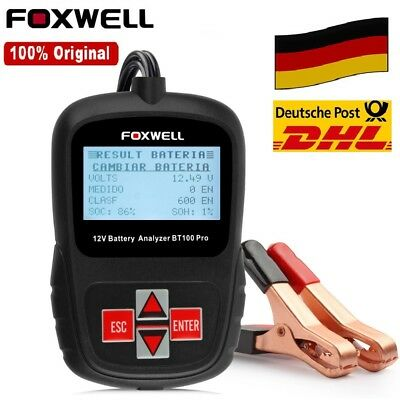 Foxwell BT100 Pro 12V Car Battery Tester Analysator 1100CCA für Flooded AGM GEL