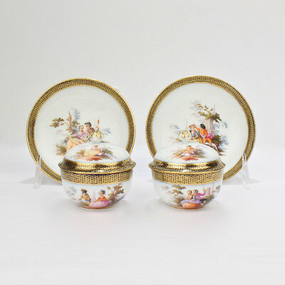 Matched Pair of Antique Meissen Porcelain Covered Demitasse Cup & Saucers  - PC