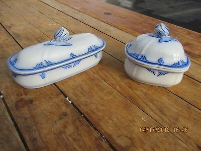 Elsmore and Forster Blue decorated Ironstone Covered Soap Dish and Shaving Box