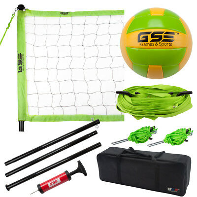 Professional Indoor Outdoor Complete Volleyball Set with Carrying Bag by GSE