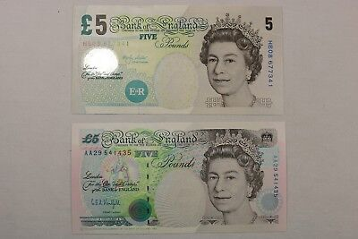 Nice High Grade Lot of 2 1990 AA & 2002 HB 5 Pounds Notes Bank of England