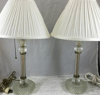 Pair Vtg Antique Hobnail Clear Glass Table Lamps Flower Design Shades 13 in
