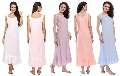 Womens Sleeveless Victorian Style Nightgown Long Sleepwear Cotton Nightdress